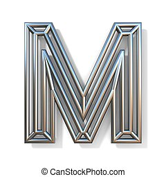 Wire outline font letter M 3D rendering illustration isolated on white background