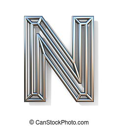 Wire outline font letter N 3D rendering illustration isolated on white background