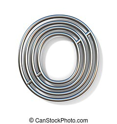 Wire outline font letter O 3D rendering illustration isolated on white background