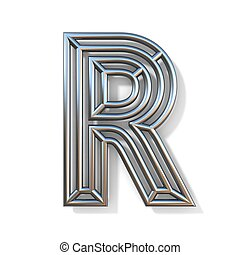 Wire outline font letter R 3D rendering illustration isolated on white background