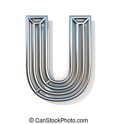 Wire outline font letter U 3D rendering illustration isolated on white background