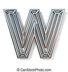 Wire outline font letter W 3D rendering illustration isolated on white background