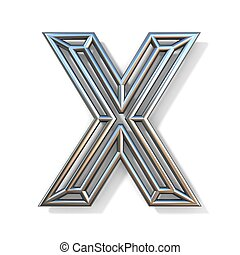 Wire outline font letter X 3D rendering illustration isolated on white background