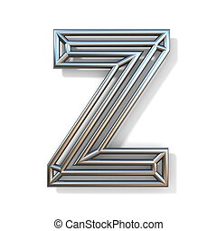 Wire outline font letter Z 3D rendering illustration isolated on white background