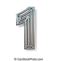 Wire outline font number 1 ONE 3D rendering illustration isolated on white background