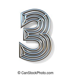 Wire outline font number 3 THREE 3D rendering illustration isolated on white background