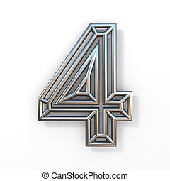 Wire outline font number 4 FOUR 3D rendering illustration isolated on white background
