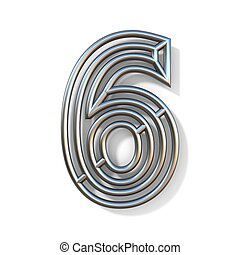 Wire outline font number 6 SIX 3D