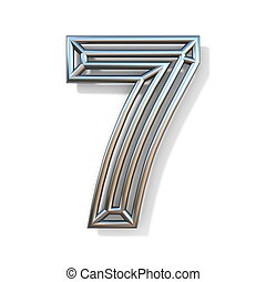 Wire outline font number 7 SEVEN 3D rendering illustration isolated on white background