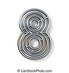 Wire outline font number 8 EIGHT 3D rendering illustration isolated on white background