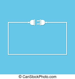 Wire plug and socket - vector illustration.