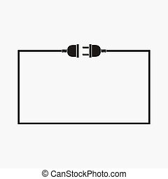 Wire plug and socket - vector illustration. Concept connection, connection, disconnection, electricity. Plug, socket and cord in flat design.