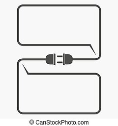 Wire plug and socket - vector illustration. Concept of...