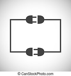 Wire plug and socket. Vector illustration.
