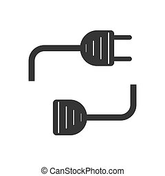 Wire plug and socket - vector.