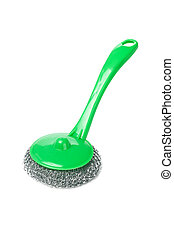 Wire scourer with green plastic handle