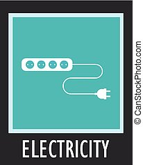 Wire, socket and electric plug vector design
