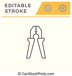 Wire strippers line icon isolated on white. Editable stroke...