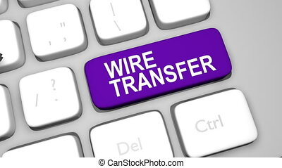 Wire transfer keyboard key animation shot clip