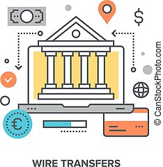 wire transfers concept - Vector illustration of wire...