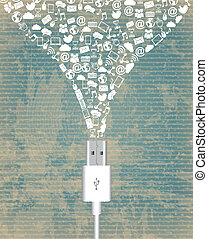 wire usb vintage - wire usb over vintage background vector...