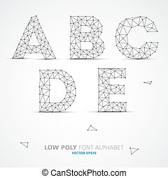 Vector low poly alphabet font - Wire Vector low poly ...
