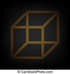 Wired cube sign. Icon as grid of small orange light bulb in darkness. Illustration.