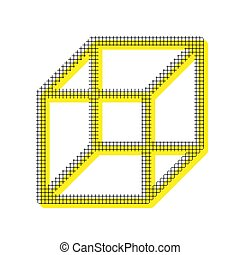 Wired cube sign. Vector. Yellow icon with square pattern duplica