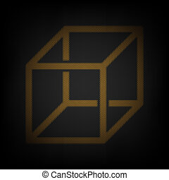 Wired cube sign with visisble ribs. Icon as grid of small orange light bulb in darkness. Illustration.