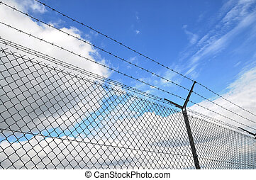 wired fence and blue sky in background