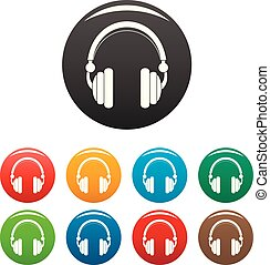 Wired headphones icons set color
