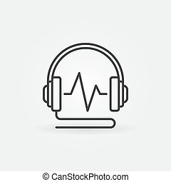 Wired Headphones with sound wave vector linear icon