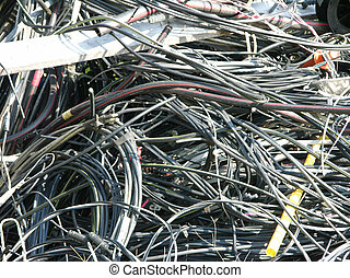 wired mess - pile of tangled wires