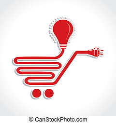 Wired Shopping Cart Icon with Bulb and Plug stock vector