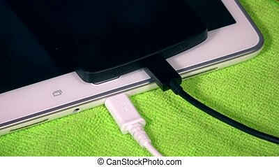 Wired tablet and female hand plug cable to smart phone