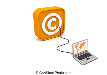Wired to Copyright-Box - laptop with orange world map...