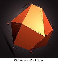 wireframe., éléments, figure, coloré, numérique, objet, vecteur, noir, spatial, géométrique, technologie, 3d