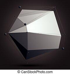 wireframe., éléments, figure, numérique, objet, vecteur, noir, spatial, monochrome, géométrique, technologie, 3d