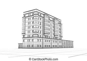 wireframe, の, 建物