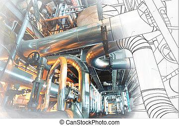 wireframe, パイプライン, デザイン, cad, 産業工場, コンピュータ, 現代, 力
