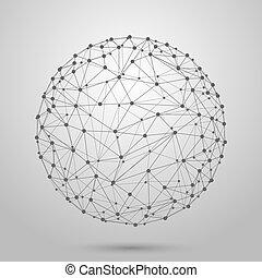 wireframe, 噛み合いなさい, polygonal, 球, ベクトル, 3d