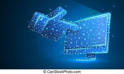 wireframe, 指すこと, ネオン, poly, コンピュータ, 人間, クリック, 青, 抽象的, シルエット, concept., 低い, デジタル, touchscreen, 指, monitor., 手, 線, illustration., 噛み合いなさい, ベクトル, 3d, 点