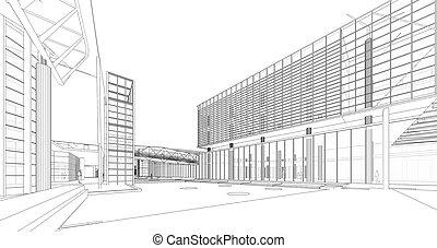 wireframe, 3d, bâtiment