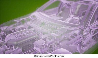 wireframe, 3d, holographic, auto, model, animatie
