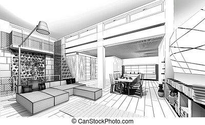 wireframe, apartamento, 3d, modelo