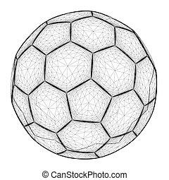wireframe., balle, lines., illustration, polygonal, vecteur, noir, 3d., football, contour