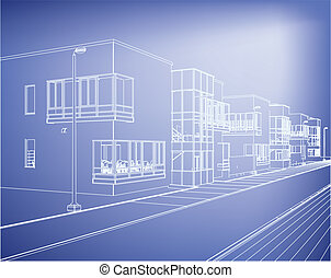 wireframe building over blueprint - eps 8 vector...