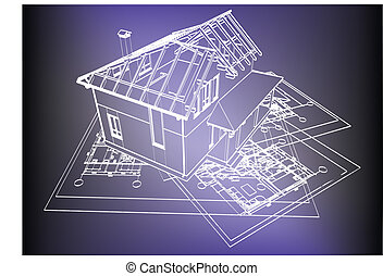 wireframe building over blueprint - eps 8 vector ...