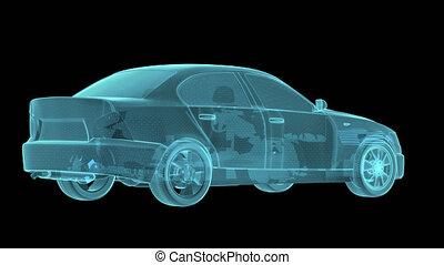 Wireframe Car Hologram Wireframe. Turntable rotating. 3D...