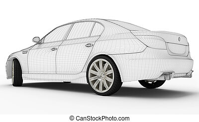 Wireframe car - Tires - Wireframe car isolated white -...